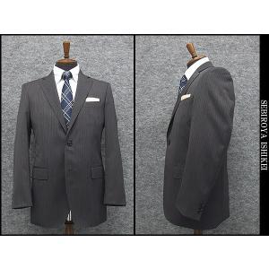 通年物 ノータック2釦ベーシックスーツ グレー縞 背抜裏地 メンズスーツ SD03-R|dxksm466