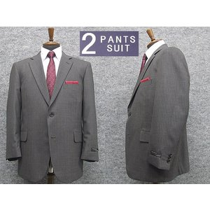 通年物 ビッグサイズ 2パンツ ベーシック2釦シングルスーツ グレー系ストライプ [E体][K体] メンズスーツ SE68121-E|dxksm466