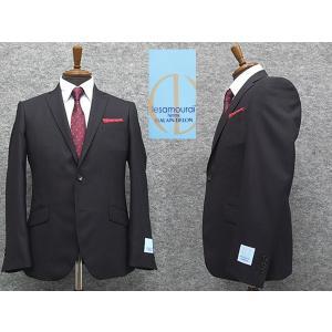 [le samourai homme ALAIN DELON] サムライ スタイリッシュ2釦シングルスーツ 黒紺縞 [Y体][A体]メンズ パーティスーツ|dxksm466