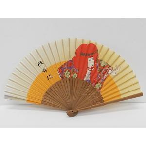 高級シルク扇子 和モチーフ 歌舞伎 骨:竹 扇面:綿 メール便OK SNS-206|dxksm466