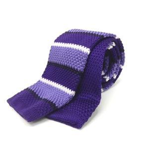 ニットタイ スリム ネクタイ 洗濯機OK 剣先6cm 紫×薄紫×白×黒紫 ボーダー ポリエステル100% ナロータイ|dxksm466