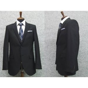 スーツ 黒無地 通年物 スタイリッシュ2ボタンシングル  長身サイズ 就活 メンズスーツ|dxksm466