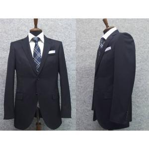スーツ 通年物 スタイリッシュ2ボタン シングル 紺系 無地 就活 メンズスーツ|dxksm466