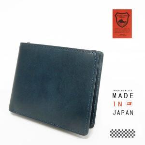 栃木レザー 牛革 二つ折り財布 小銭入れ付 藍色 日本製 tcg3361-NV|dxksm466