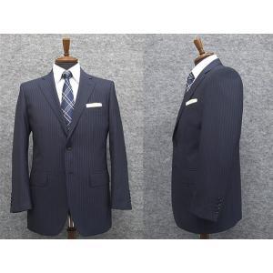 春夏物 ベーシック2釦シングルスーツ 紺系ストライプ [A体][AB体] メンズスーツ|dxksm466