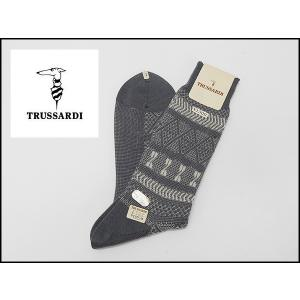 TRUSSARDI/トラサルディ 紳士靴下 ジャガード柄 グレー×ベージュ系 ビジネス&カジュアル 27-28cm 日本製 メール便可 TRS12|dxksm466