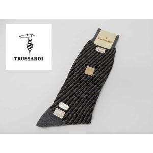 TRUSSARDI/トラサルディ 紳士靴下 ストライプ グレー系 ビジネス&カジュアル カシミヤ混 27-28cm 日本製 メール便可 TRS17|dxksm466