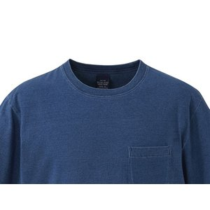 United Athle クルーネックTシャツ 半袖 ライトインディゴ 胸ポケット 丸首Tシャツ 綿100% UA3991-01LI|dxksm466