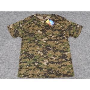 アウターシャツ 丸首Tシャツ 緑デジタル迷彩 UA65890-01PWL|dxksm466