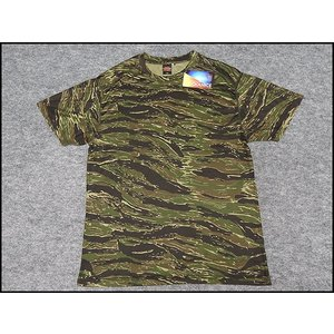 アウターシャツ 丸首Tシャツ 緑タイガー迷彩 UA65890-01TG|dxksm466