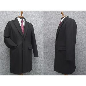 ウール混 シングルチェスターコート 黒 メルトン素材 メンズ カジュアル ビジネスコート dxksm466