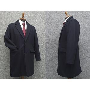 ウール混 シングルチェスターコート 紺 メルトン素材 メンズ カジュアル ビジネスコート|dxksm466