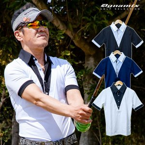 ゴルフウェア 夏 メンズ 半袖 ポロシャツ 重ね着風 ゆうパケット対応 送料無料|dyna-golf