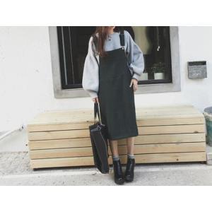 サロペットワンピース ジャンパースカート ロング ブラック 黒|dynamic-sun