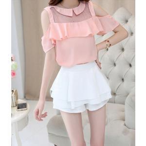 セットアップ ティアードスカート フリル ピンクシャツ|dynamic-sun
