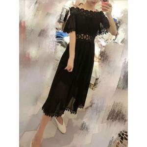 ロングワンピース ブラック ホワイト ドレス お呼ばれ 黒 dynamic-sun