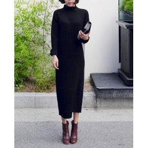 黒 ニットワンピース 白 ロング 長袖 大人 かわいい 人気|dynamic-sun