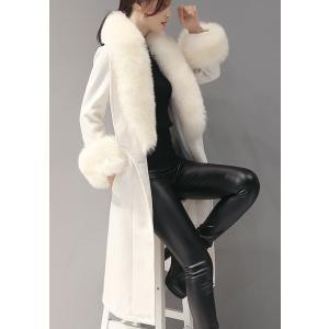 ホワイトコート ロング ファーコート 膝丈 白|dynamic-sun