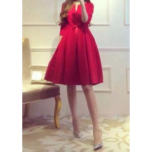 赤 ミニ ドレス レッド aライン 膝丈 カラー ブラック|dynamic-sun