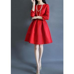 赤 ドレス レッド ミニ aライン お呼ばれ 二次会 結婚式|dynamic-sun