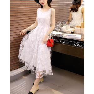 お呼ばれ ドレス 二次会 結婚式 白 ホワイト ノースリーブ|dynamic-sun