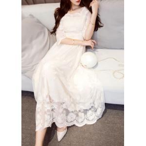 ホワイト ドレス 白 結婚式 お呼ばれ ワンピース ロング|dynamic-sun