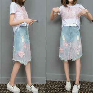 可愛い セットアップ デニムスカート 花柄 おしゃれ tシャツ dynamic-sun