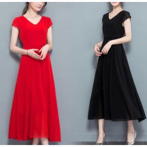 ロングワンピース シフォン 赤 黒 シンプル 上品 半袖|dynamic-sun