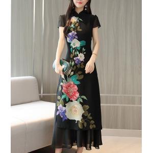 ロングドレス  チャイナ 花柄 黒 ブラック ワンピース|dynamic-sun