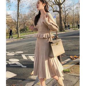 ニット セットアップ スカート ワンピース フレア 長袖 dynamic-sun
