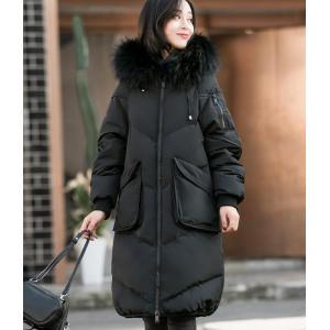 ファーコート 毛皮 ダウン フード 暖かい かわいい 黒|dynamic-sun