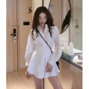 シャツワンピース セットアップ ホワイト 白 きれいめ 長袖|dynamic-sun