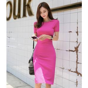 ピンク ワンピース ひざ丈 半袖 パステル タイト スリム|dynamic-sun