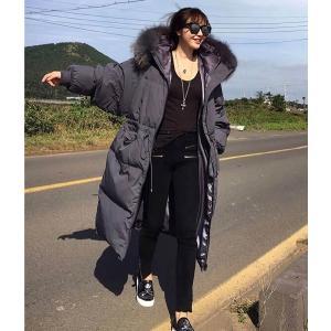 ファーコート フード 帽子 ロング 黒 ブラック ダウン|dynamic-sun