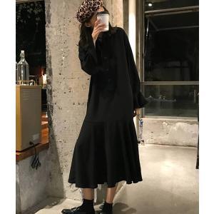 シャツワンピース ペプラム 長袖 ブラック 黒 ロング 襟|dynamic-sun