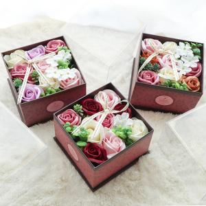 アンティークボックス花 バラ フレグランス フラワーソープ シャボンフラワー ボックスフラワー 枯れない花 造花 フラワーギフト 入浴剤 おしゃれ ギフト (ラ) e-alamode-ys