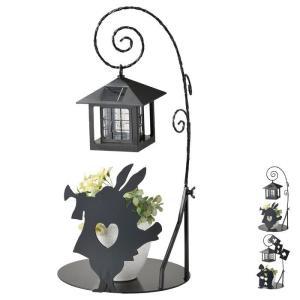 ソーラーライト おしゃれ 屋外 庭 LED シルエットソーラー 不思議の国のアリス ガーデンライト ラッパうさぎ トランプ兵士 プレゼント DIY 新生活 e-alamode-ys
