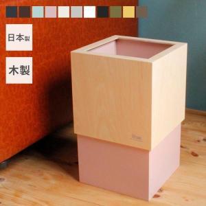 日本製 ダストボックス (W CUBE) 天然木ごみ箱 カラフル|e-alamode