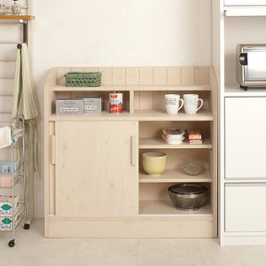 日本製 Natural Series カウンター下引き戸収納90.5cm幅 収納棚 キッチン e-alamode