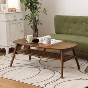 テーブル 折りたたみテーブル 100幅  リビングテーブル 木製 完成品 折れ脚テーブル 棚付き センターテーブル 人気 ブルーノ|e-alamode