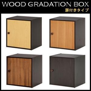 収納ボックス 扉・棚板付き ウッドグラデーションボックス|e-alamode