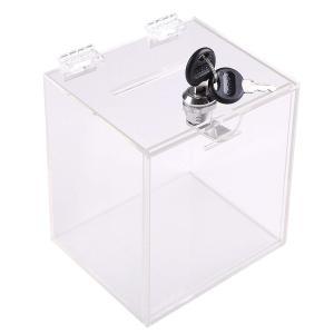 コンパクトクリアな鍵付募金箱です。 レジの横や狭い隙間に収まるサイズです。 商品は必ずプチプチで保護...