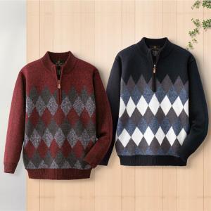 ジャックブラウン 紳士アーガイル柄 裏フリース ジップセーター 2色組 e-apron