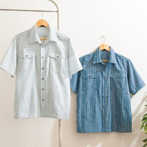 紳士 10ポケットストライプシャツジャケット 2色組 e-apron