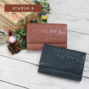 レディース 三つ折り財布 ミニ財布 本革 牛革  レザー studio・s スタディオ・S ハルモニ 楽譜柄型押し SS-7R305|e-bag-morita