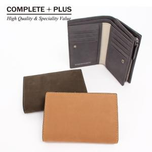 メンズ ミディアム二つ折り財布 牛革 本革 ヌバックレザー COMPLETE PLUS コンプリートプラス 小銭入れ カードがたくさん入る 縦にカードが入る  952-cp-9bg102|e-bag-morita