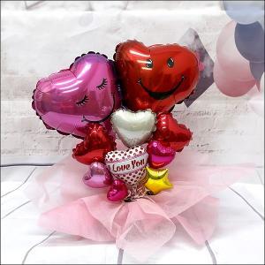 結婚お祝い 卓上バルーンギフト ダブルハート(メッセージカード付)|e-balloon
