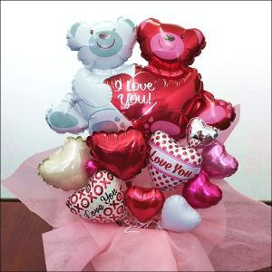 結婚お祝い 卓上バルーンギフト ラブベア(メッセージカード付)|e-balloon
