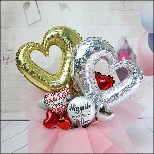 結婚お祝い 卓上バルーンギフト オープンハート(メッセージカード付)|e-balloon