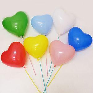天然ゴム風船 ハート型風船(100ヶ) 40cmパイプ棒付【バルーン】|e-balloon